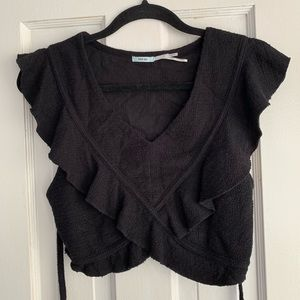 V NECK CROP TOP WITH UNIQUE DETAILS